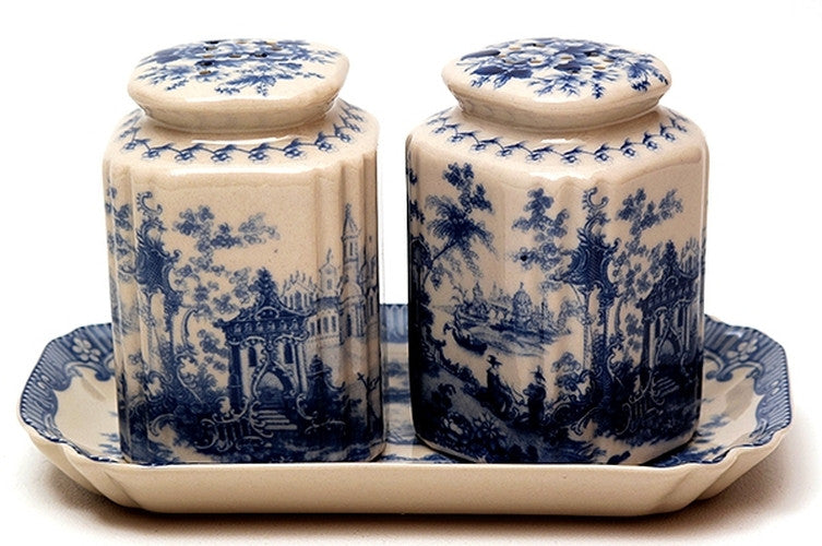 Porcelain Salt & Pepper Set with Tray
