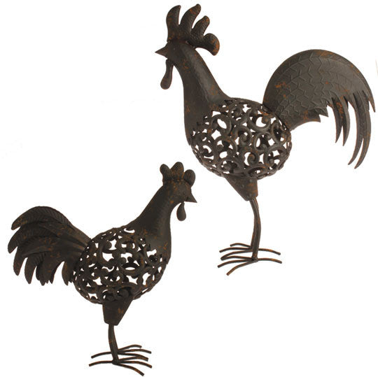 Rooster & Hen Metal Sculptures