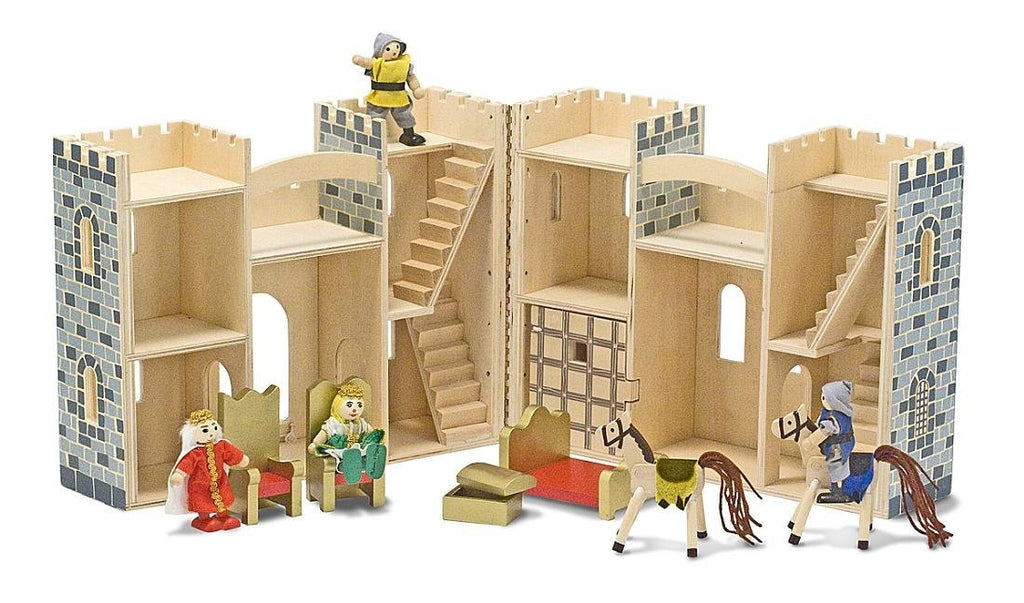 Fold and Go wooden castle by Melissa and Doug. Item number 3702.