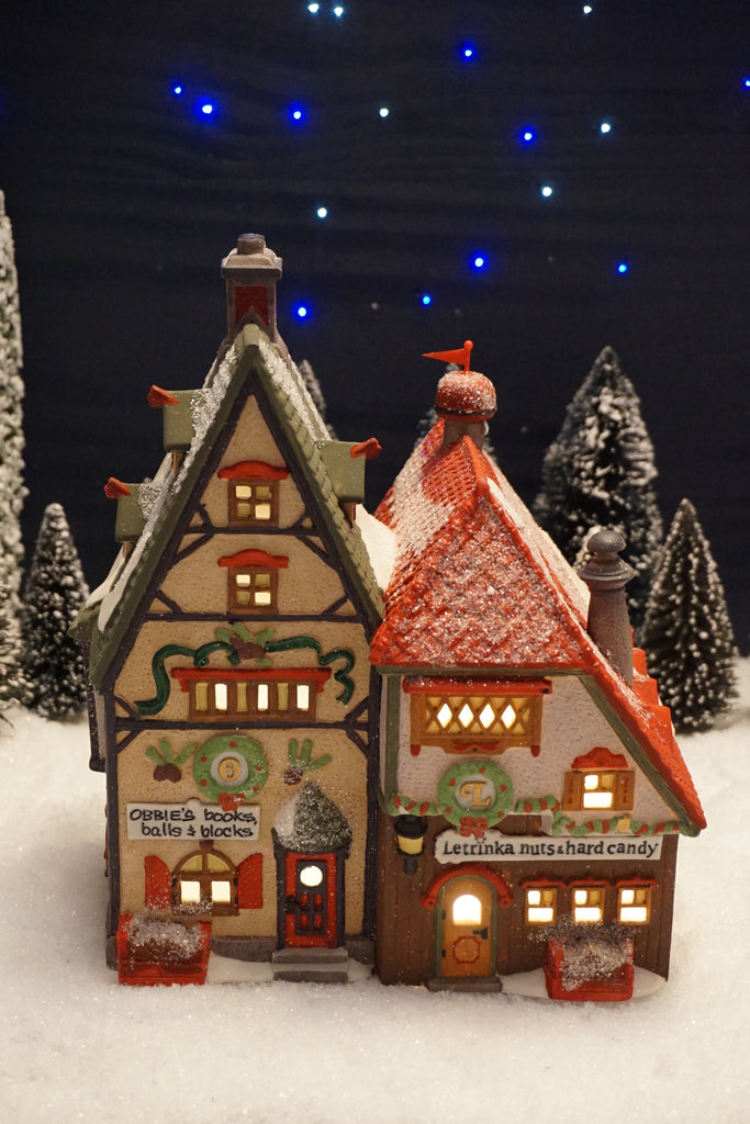 Department 56 North Pole Series - Obbie's Books and Letrinka's Candy. Item number 56243.