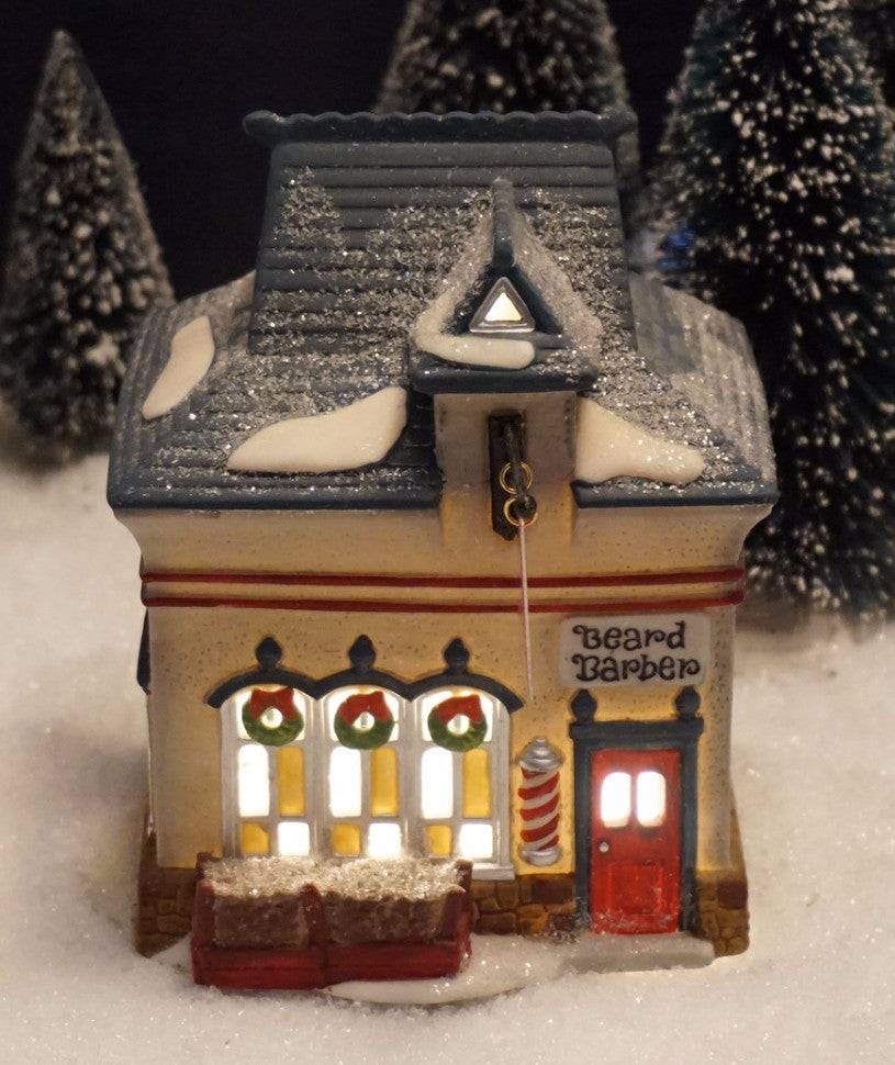 Department 56 North Pole Series - Beard Barber Shop. Item number 56340.