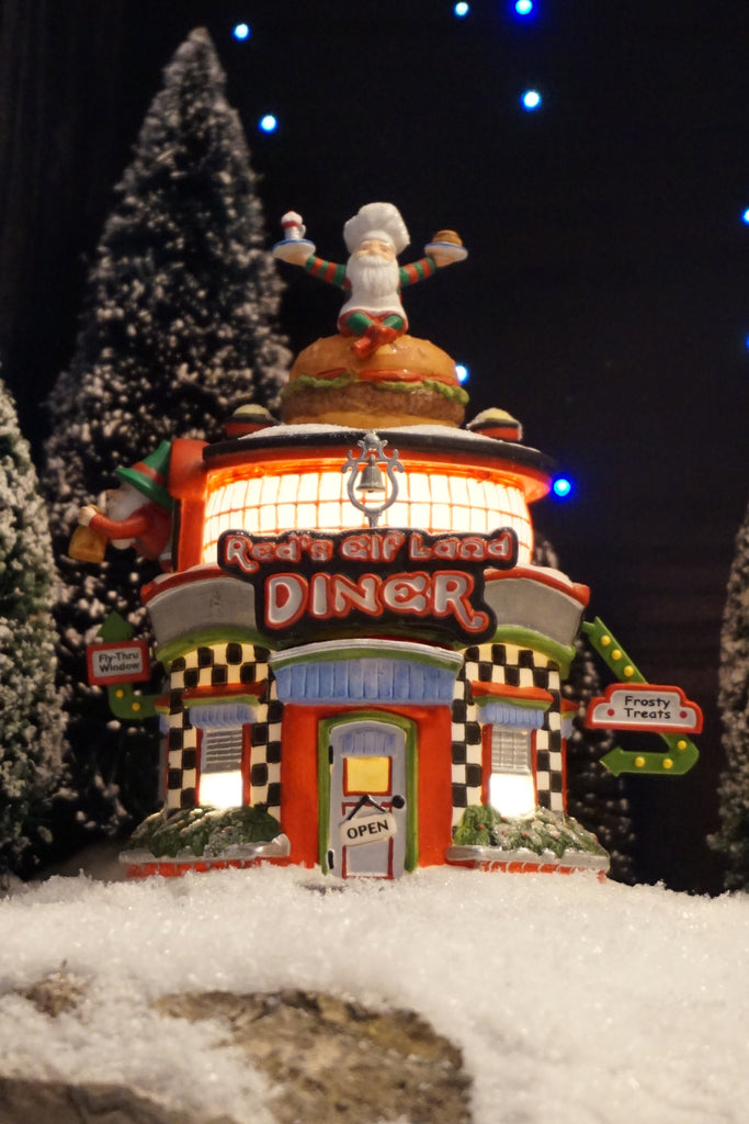 Red's Elf Land Diner by Department 56. Part of the North Pole Series - Elfland. Product number 56.56765.