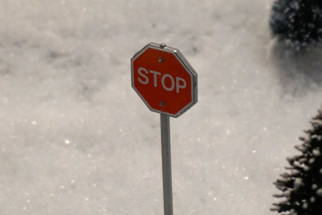 Department 56 Snow Village Series - Stop Sign - set of 2. Item number 51764.