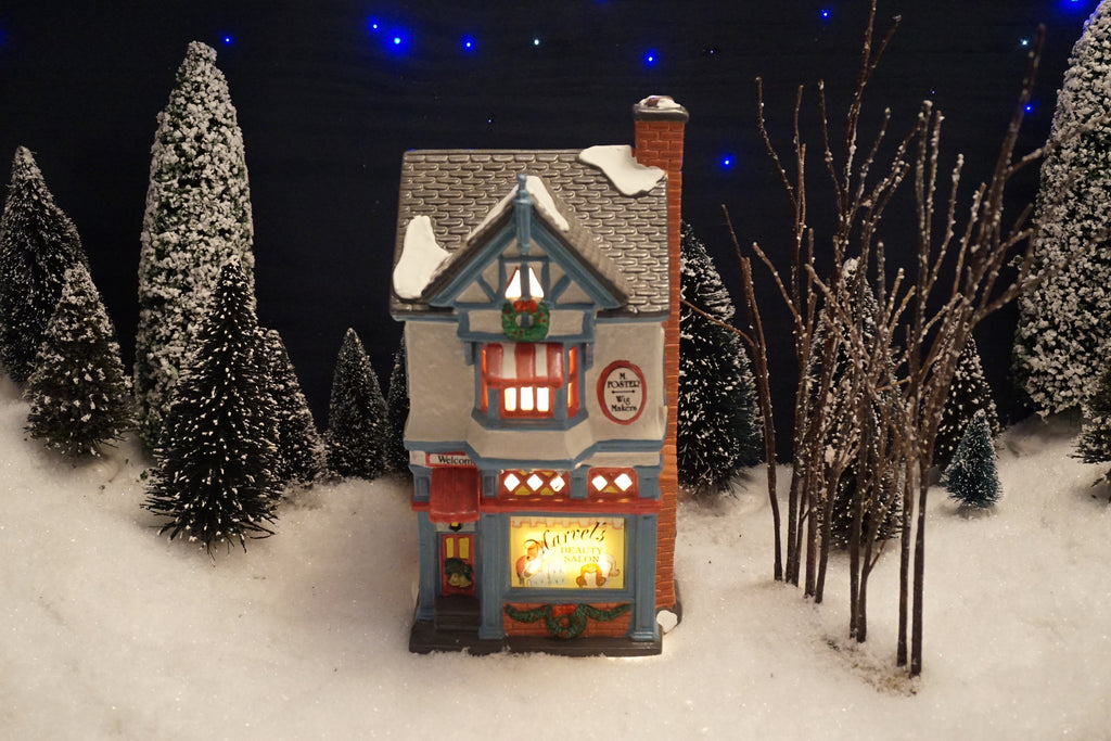 Department 56 Snow Village Series - Marvel's Beauty Salon. Item number 54704.