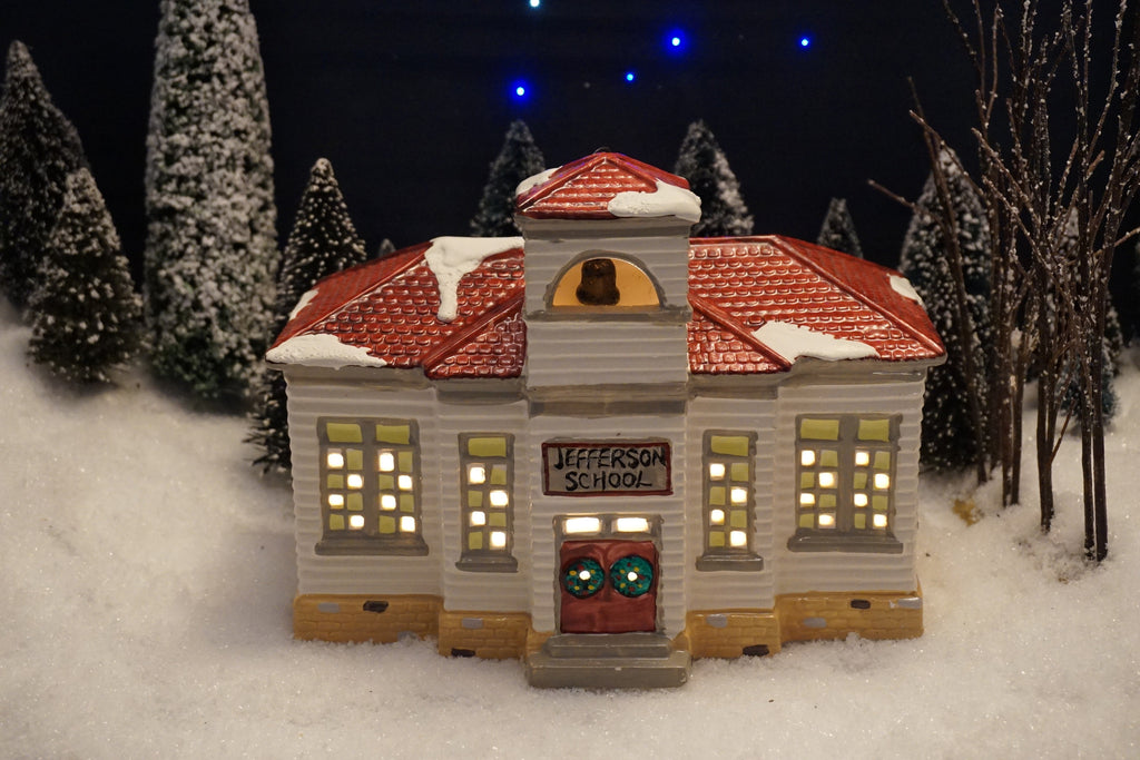 Department 56 Snow Village Series - Jefferson School. Item number 50822.