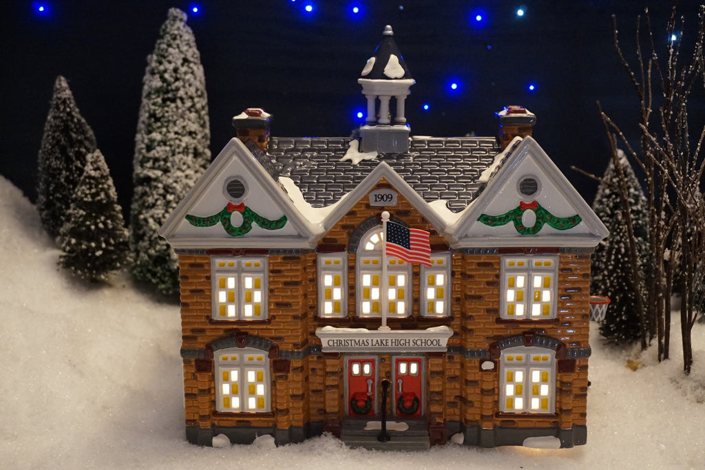 Department 56 Snow Village Series - Christmas Lake High School. Item number 54881.