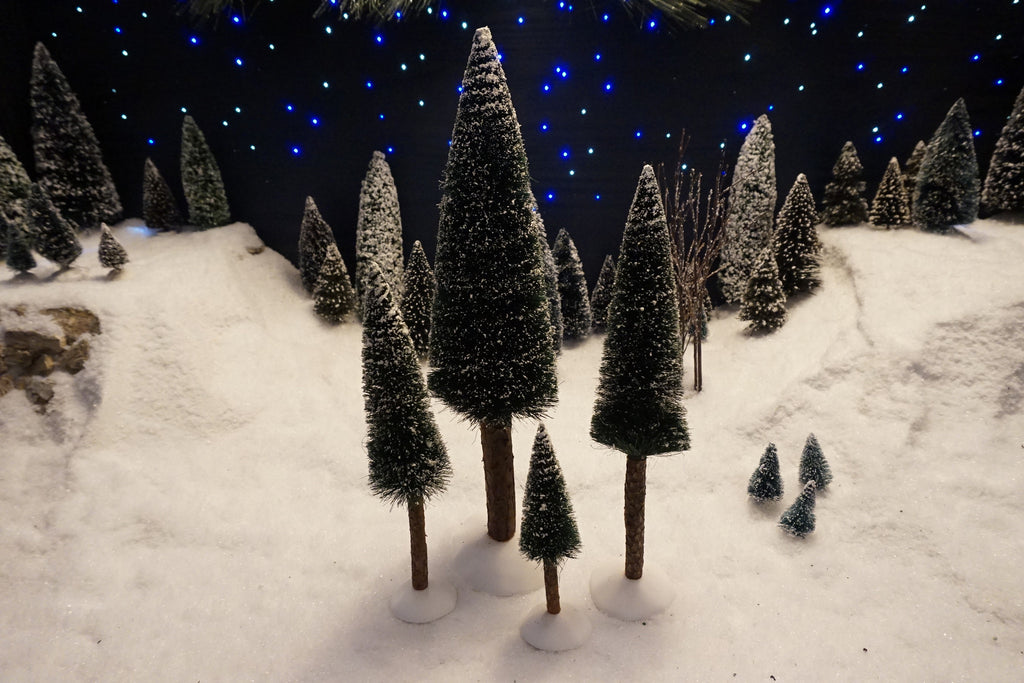 Department 56 Snow Village Series - Frosted Fir Trees. Item number 52605.