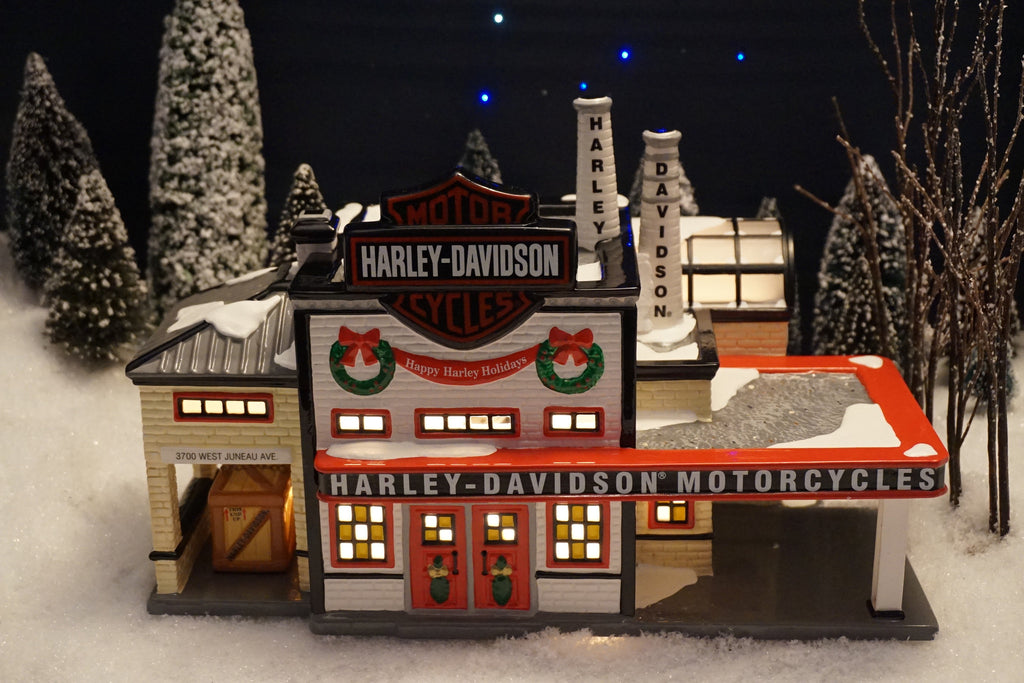 Department 56 Harley-Davidson Snow Village Series - Harley-Davidson Manufacturing. Item number 54948.