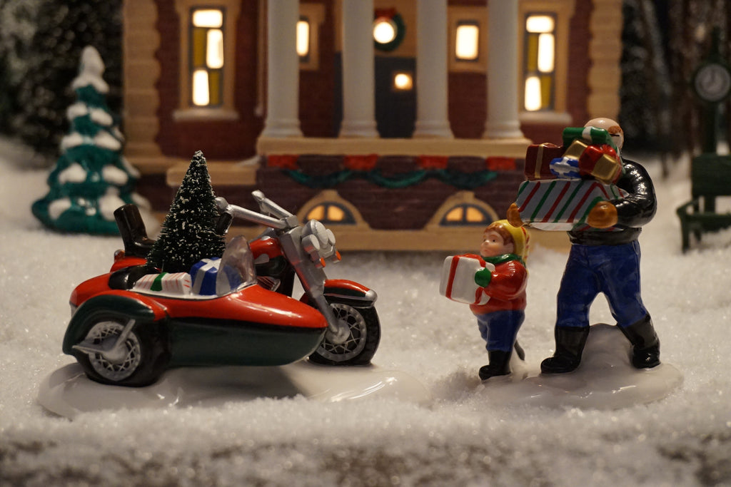 Department 56 Harley-Davidson Snow Village Series - A Harley-Davidson Holiday. Item number 54898.