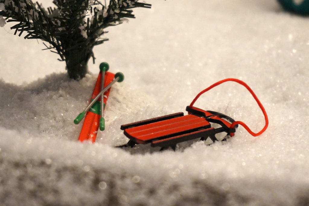 Department 56 Snow Village Series - Sled and Skis. Item number 52337.
