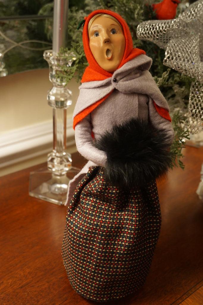 Byers' Choice Caroler - woman with hand muff.