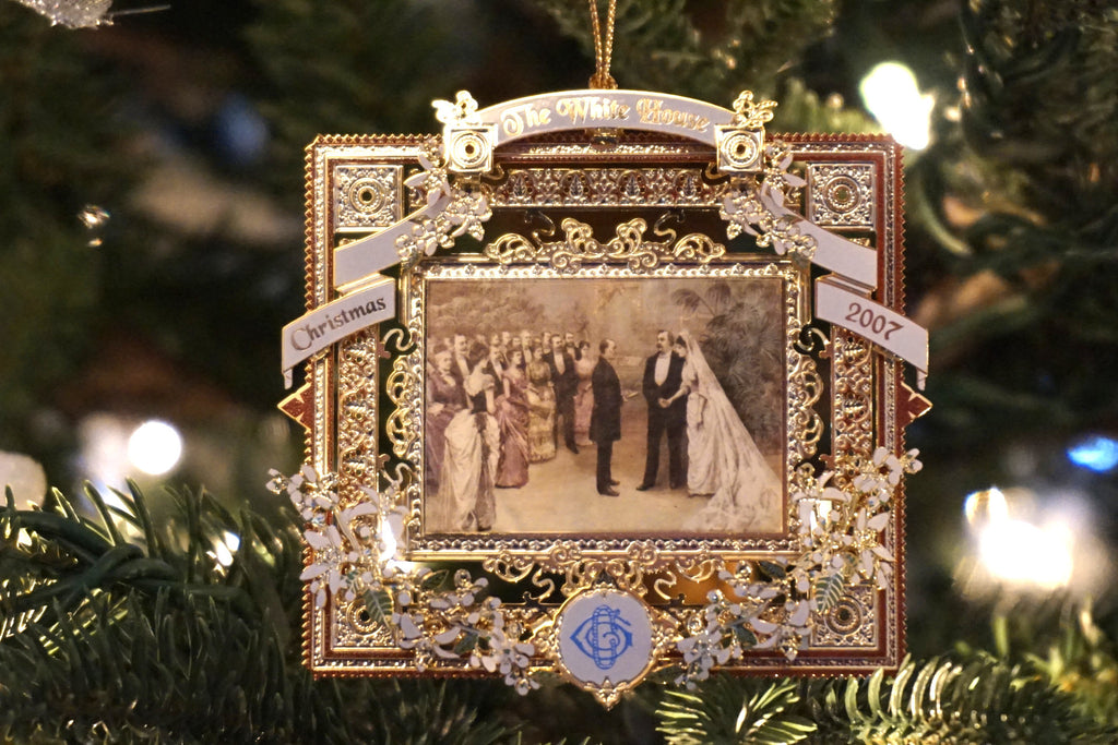 White House Historical Association - 2007 edition Christmas ornament recognizing the first White House Wedding with President Grover Cleveland and Francis Folsom on June 2nd, 1886.