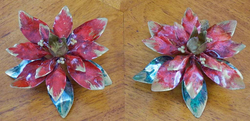 2 Metal poinsettia candle holders