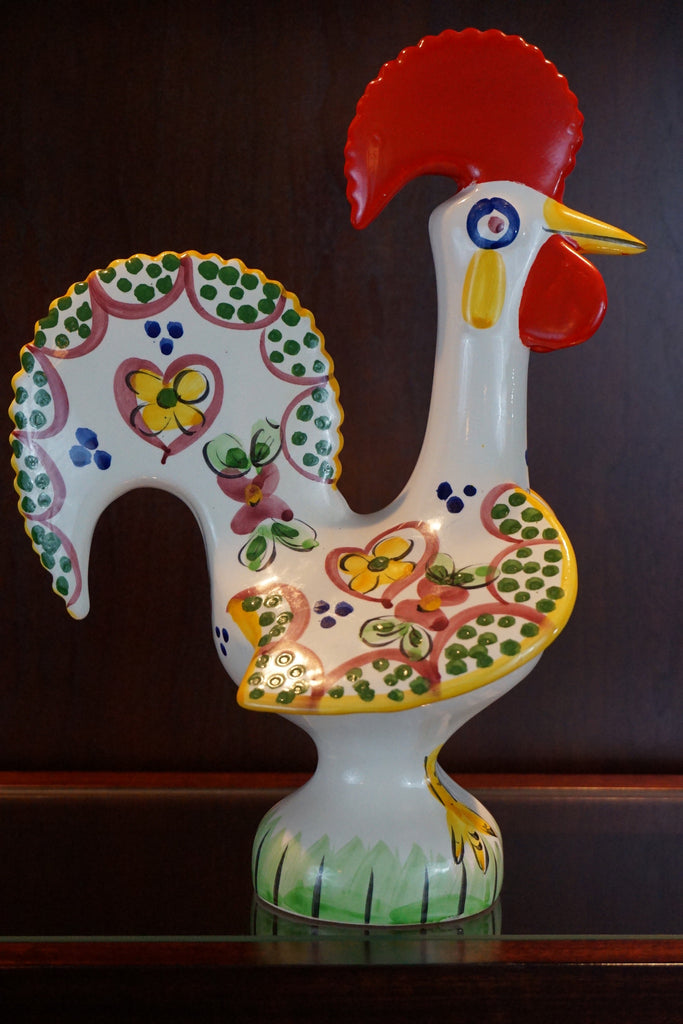 Hand painted Portuguese pottery rooster.