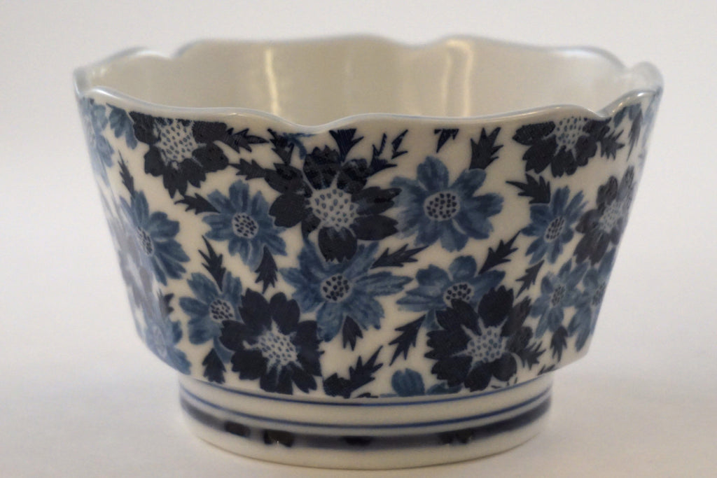 Floral Blue and White Porcelain Bowl