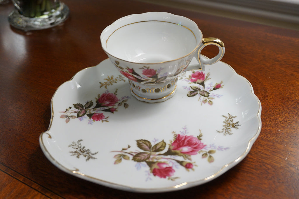 Rose Tea Cup and Scone Plate