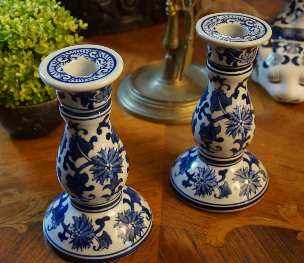 Blue & White Candle Holders