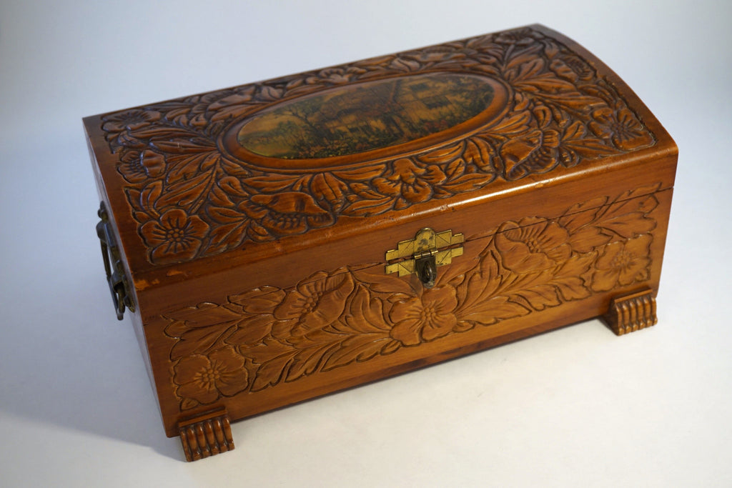 Small Carved Cedar Chest