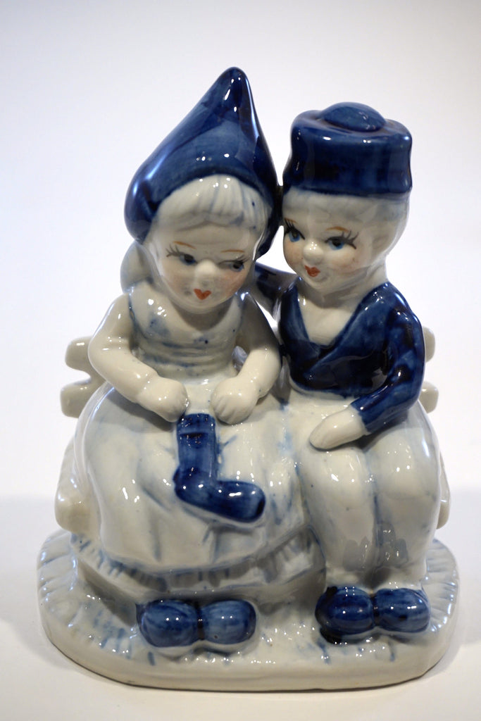 Delft Boy and Girl on Bench