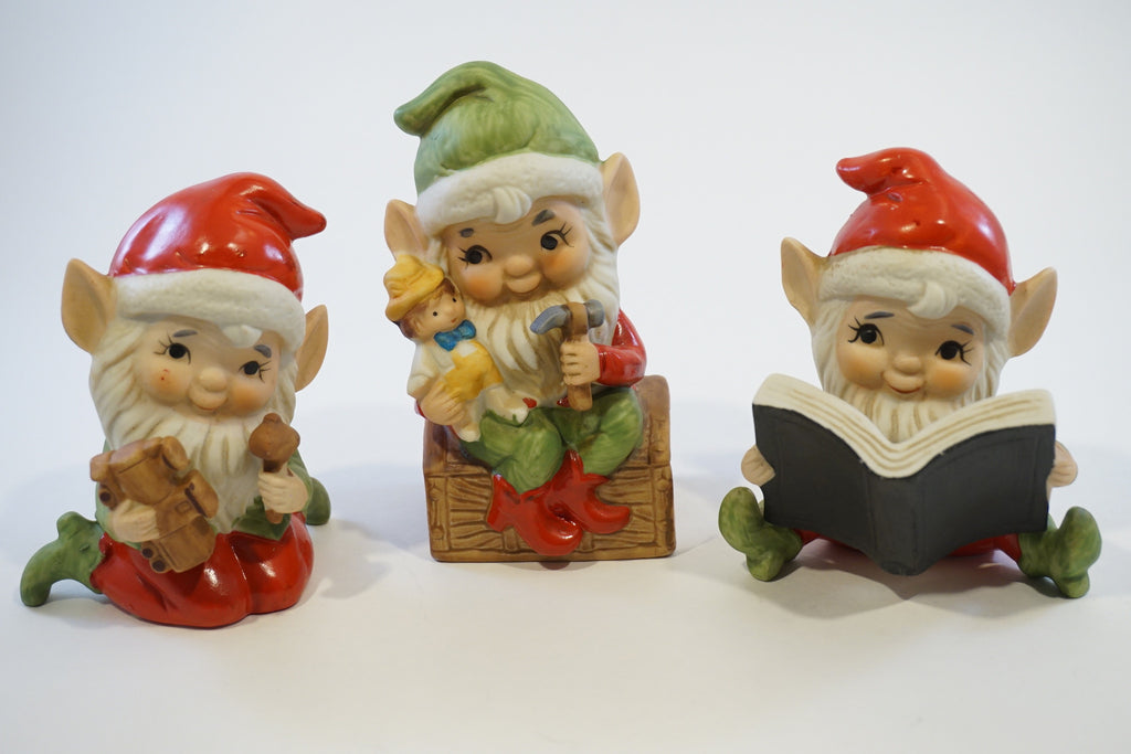 Three Homco Elf Figurines