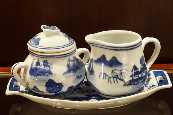 Ceramic Sugar Bowl & Creamer
