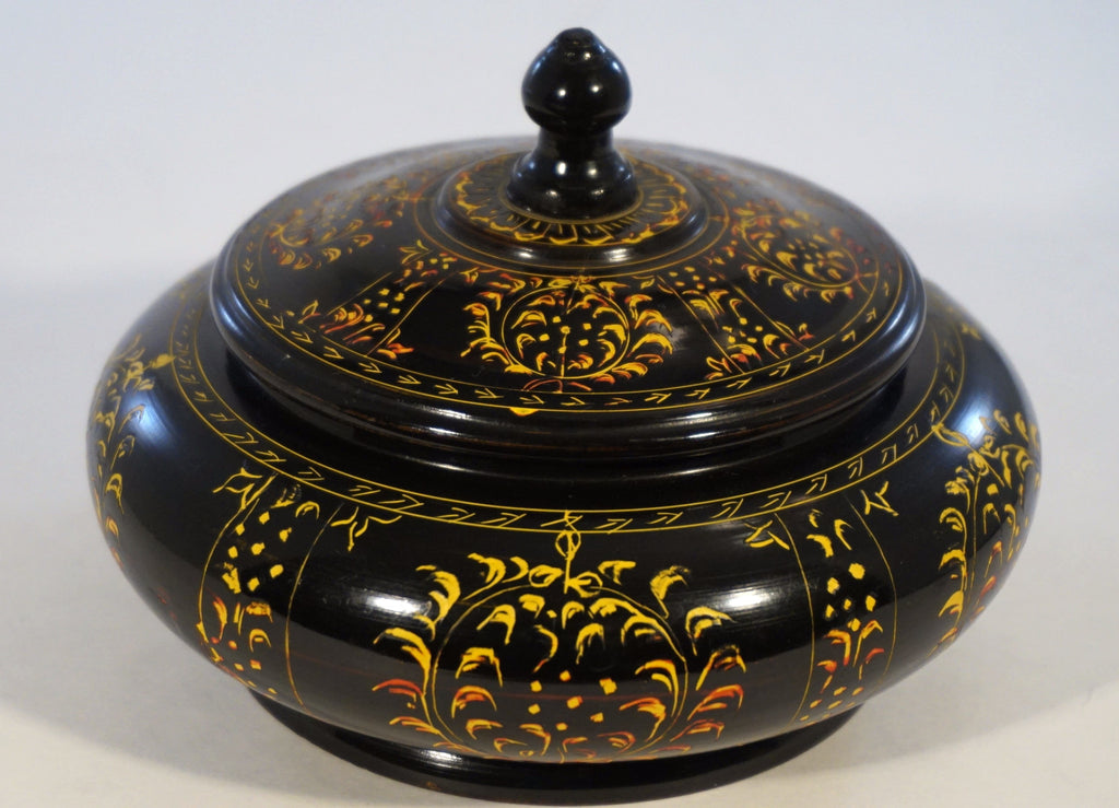 Black Handpainted Bowl with Lid