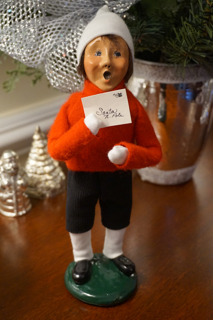 Caroler Boy with Santa Note