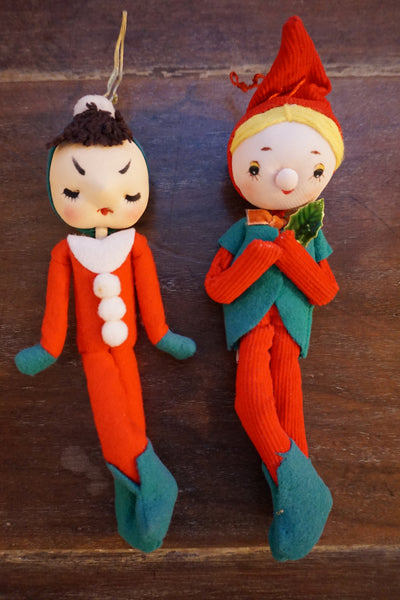 Two Vintage Christmas Elves