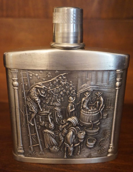 Vintage Zinn Embosed Flask