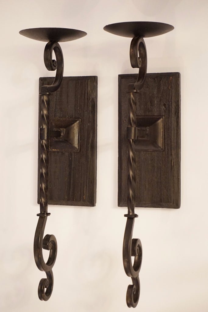 Wood and Metal Candle Sconces