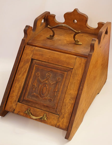 Antique Carved Coal Scuttle