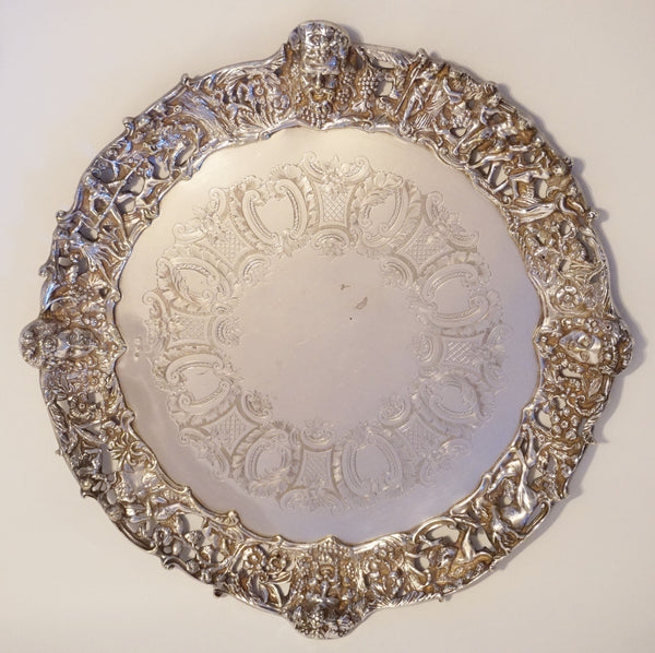Silver Tray with Figural Border