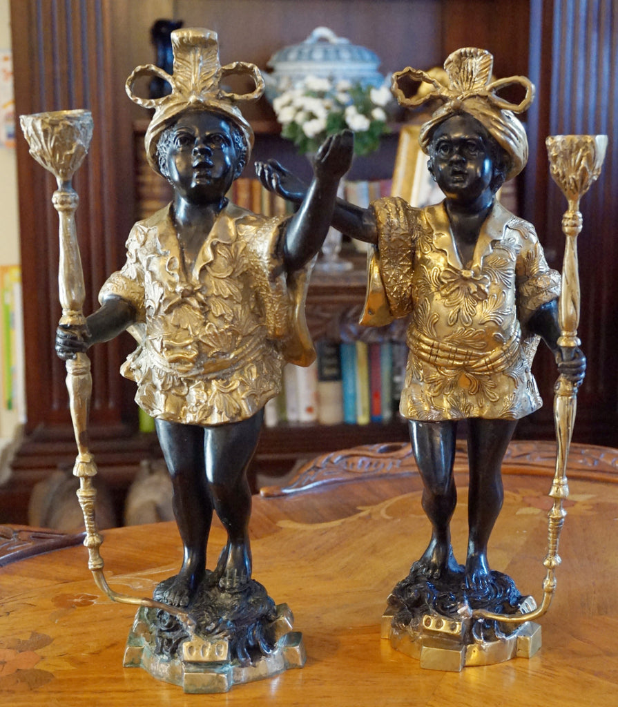 Bronze Blackamoor Candle Holders