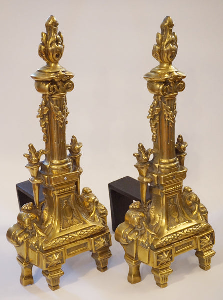 Vintage Ornate Brass Andirons