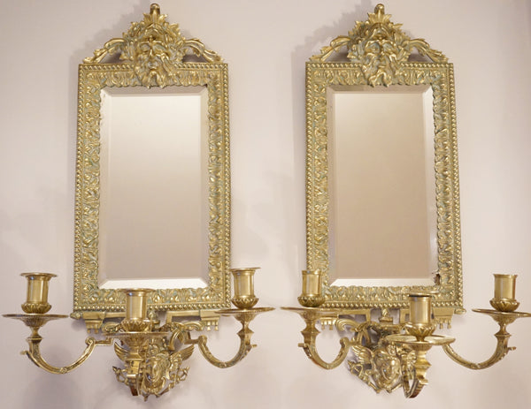 Antique Mirrored Candle Sconces