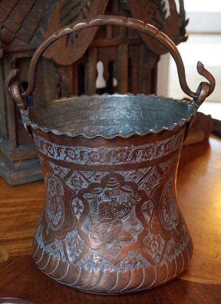 Arabic Copper Bucket - 1800's