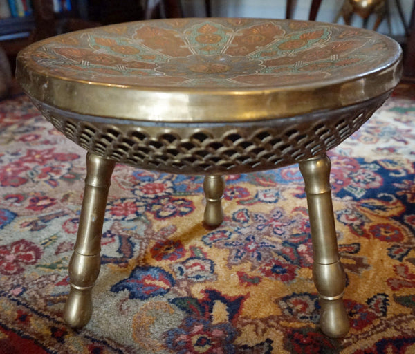 Asian Brass Foot Warming Stool