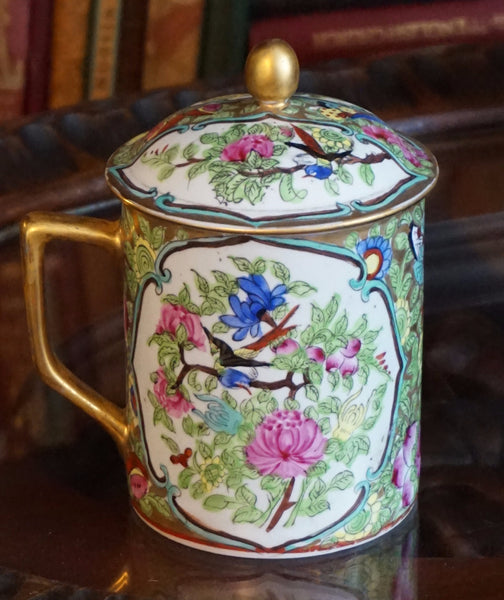 Famille Rose Mug with Lid