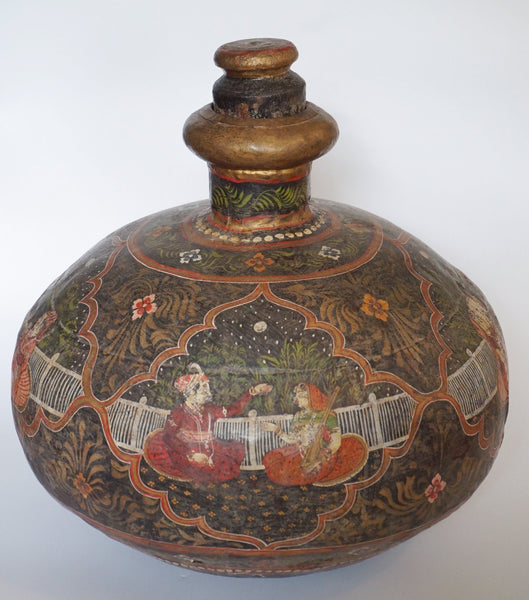 Asian Painted Metal Jug