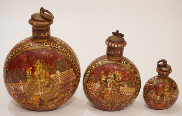 Three Asian Metal Bottles
