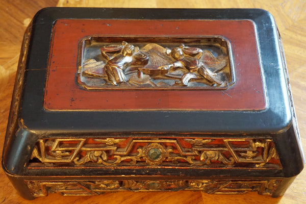 Vintage Asian Wood Spice Box