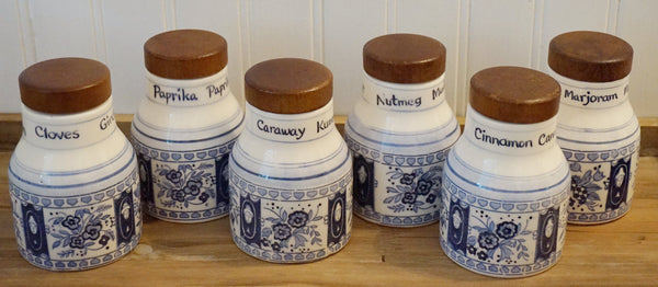 Blue & White Spice Containers