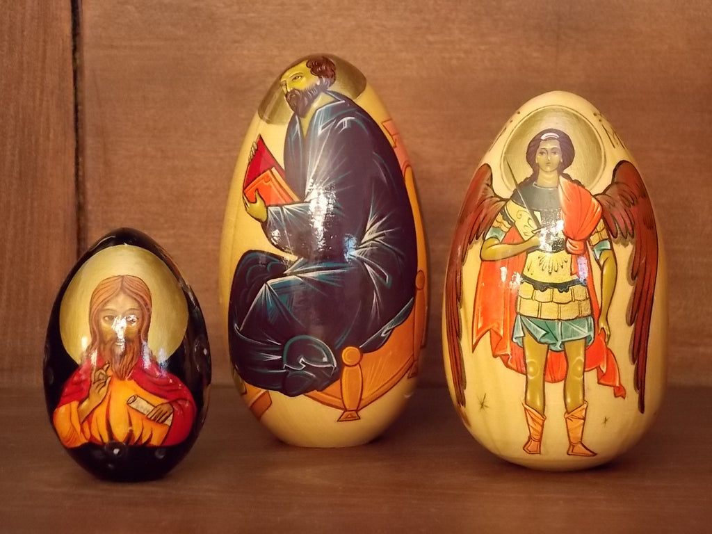 Vintage Russian Religious Icon Eggs - 3 piece set