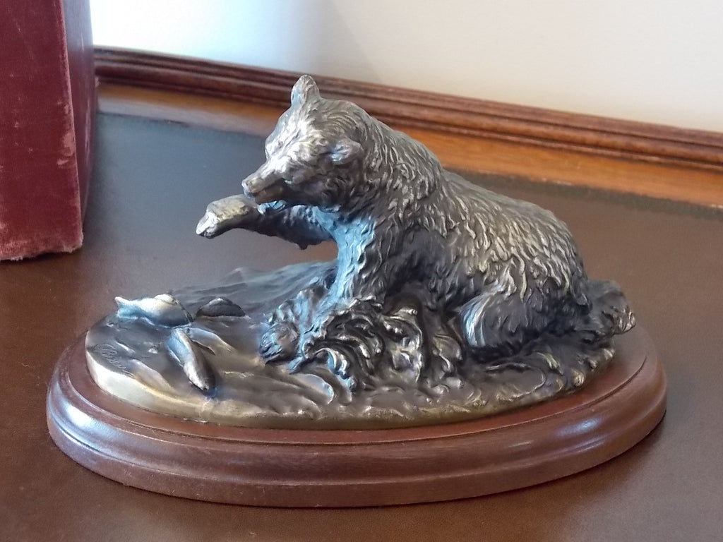 Vintage Grizzly Bear bronzed metal sculpture - Terrell O'Brien Gallery