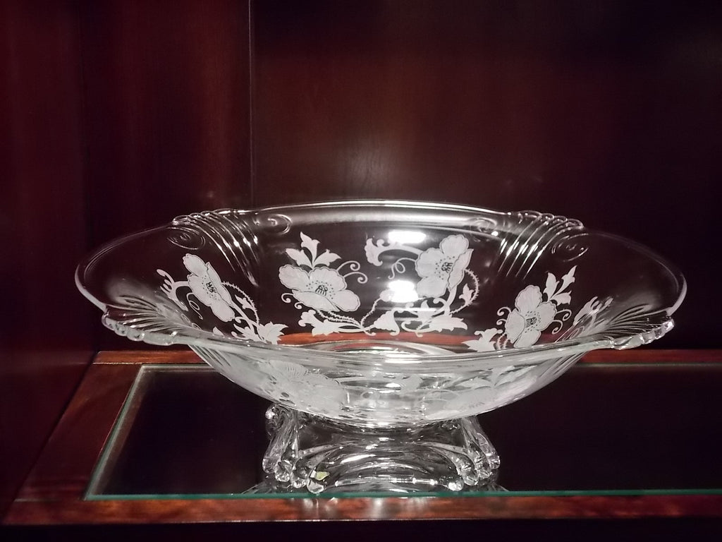 Large etched glass footed bowl with poppies
