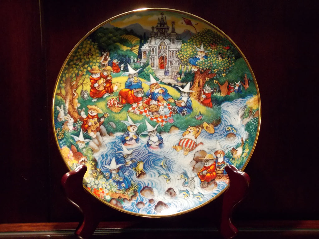 A Bill Bell Limited Edition porcelain plate - Purrfect Picnic