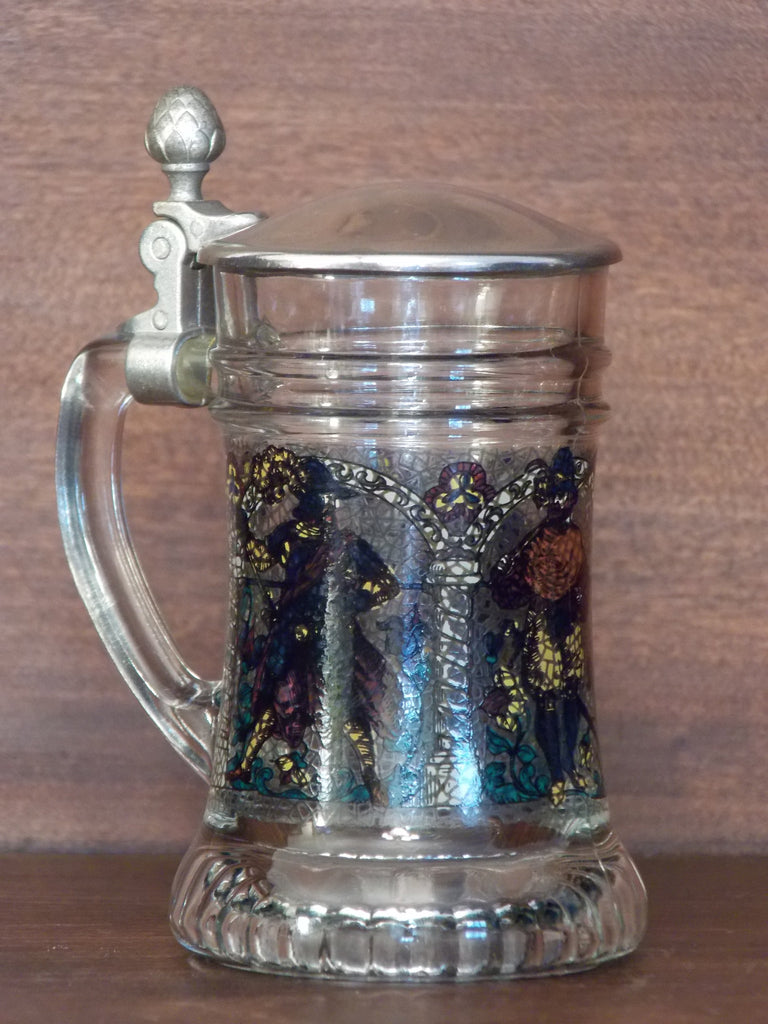Original BMF Schnapskruger mini glass stein with hinged lid
