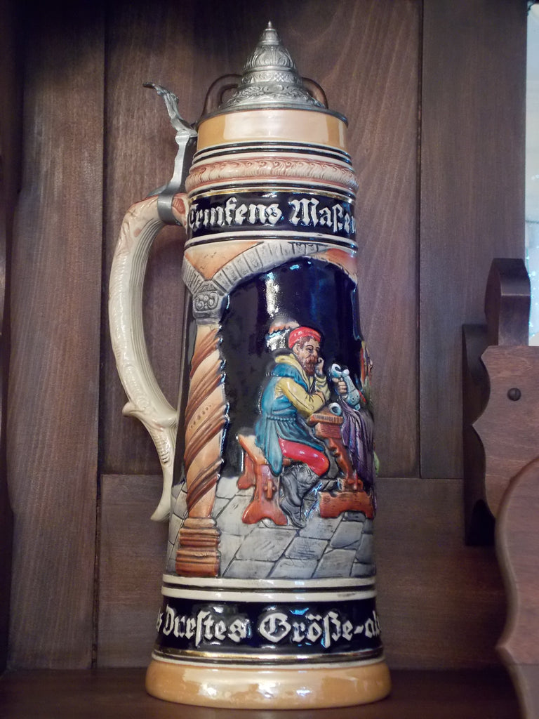 Large German Stein with Lid