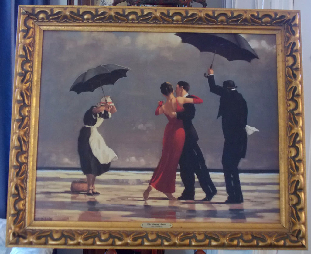Reproduction framed oil painting of The Singing Butler by Jack Vettriano