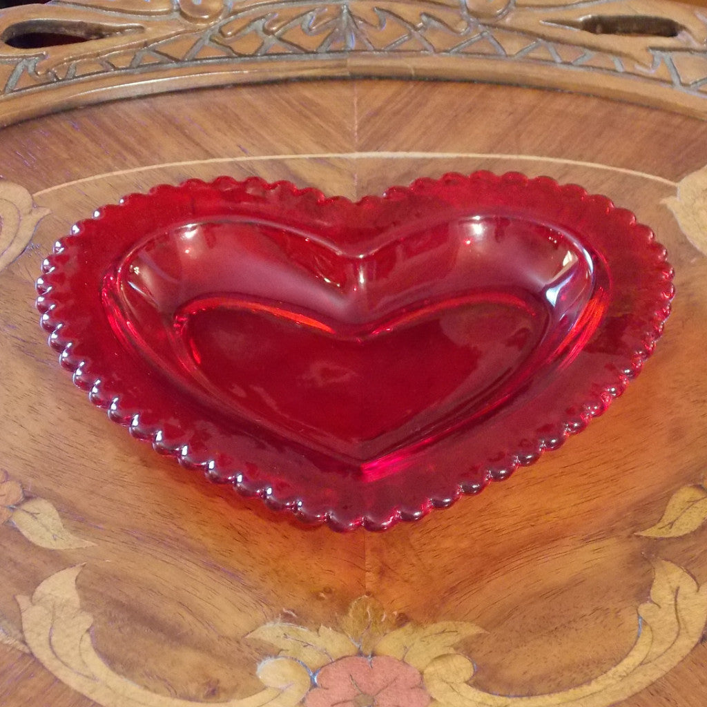 Red Glass Heart Shaped Dish